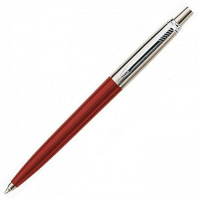 Parker Jotter Red Ballpoint Pen  With Chrome Trim Blue Ink  S0705580  No Box