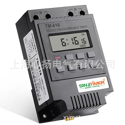 SINOTIMER 7 Days Programmable Digital Control Power Timer Switch 220V/12V AC 30A