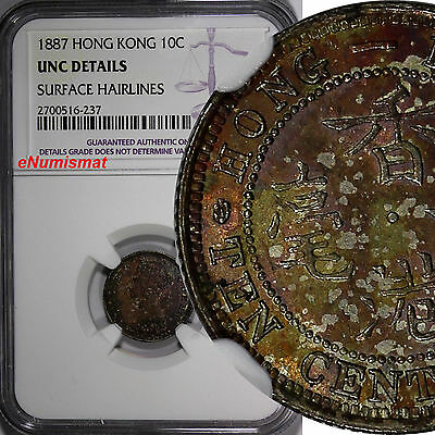 Hong Kong Victoria Silver 1887 10 Cents NGC UNC DETAILS Nice Toning KM# 6.3