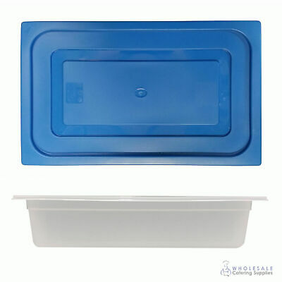 12x Food Pan with Blue Lid 1/1 GN 100mm Full Size Polypropylene Gastronorm