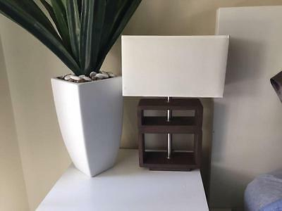 2 x As NEW OZ Design Timber and White Bedside Table Lights Lamps
