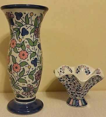 Blue Ceramic Vase With Candy Dish Flower Patterns