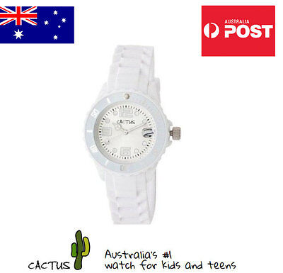 Cactus Watches for Kids with Analogue Face & White Silicone Band