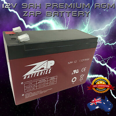 RED HEAVY DUTY 12V 9AH AGM DEEP CYCLE ZAP BATTERY Generator, Solar, Scooter, UPS