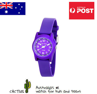 Cactus Watches for Kids Analogue 100mt Water Resistant & Purple Silicone Band