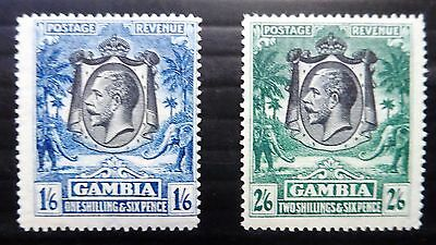 GAMBIA 1922 G.V - 1/6 & 2/6 SG135 & 137 Lightly Mounted Mint NB1378