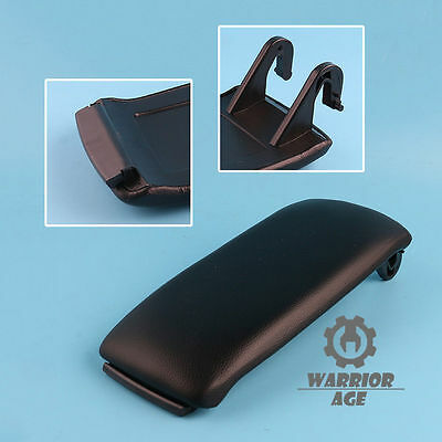 Black PU Leather Center Console Armrest Cover Lid for Audi A4 S4 A6 C5 2000-2006