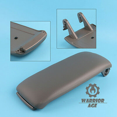 Gray PU Leather Center Console Armrest Cover Lid for Audi A4 S4 A6 C5 2000-2006
