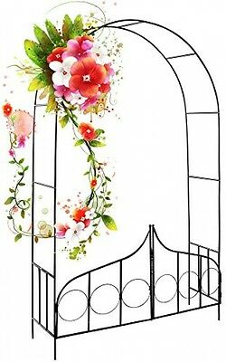 Garden Metal Arch Gate Trellis Entry Climbing Plants Pillar Entrance Archway New