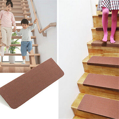 5Pcs 70x20cm Stair Carpet Set Self Adhesive Anti-Skid Home Hotel Tread Mats Rugs