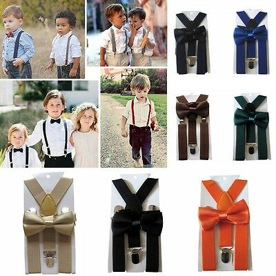 Kids New Design Suspenders and Bowtie Bow Tie Set Matching Ties Outfits  EM
