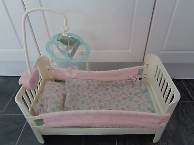 baby annabell cot/bed with matching bedding+ musical cot mobile