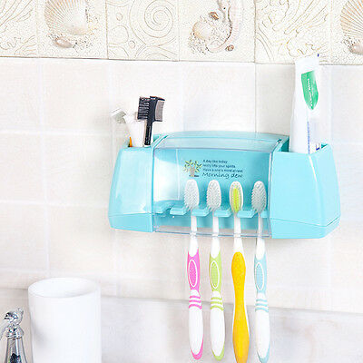Home Bathroom Wall Mount 5 Toothbrush Spin brush Suction Holder Stand Rack UK