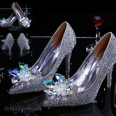 Silver Sexy Cinderella Women Rhinestone Wedding Party Pumps High Heel Shoes Size