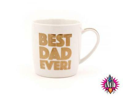 Fathers Day Gold Best Dad Ever Mug Cup New & Boxed