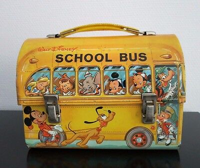 VINTAGE METALL LUNCH BOX_ DOME_DISNEY SCHOOL BUS_1960`s  USA_ALADDIN INUSTRIES