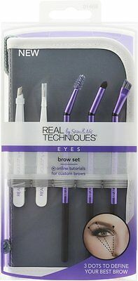 Real Techniques 5pc Brow Trim Kit Set  inc tweezer brush