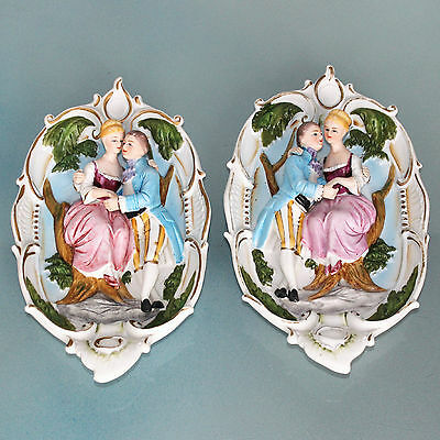 CAPODIMONTE Wall SET OF 2! Figurine Vintage Figurines Porcelain China Italy RARE