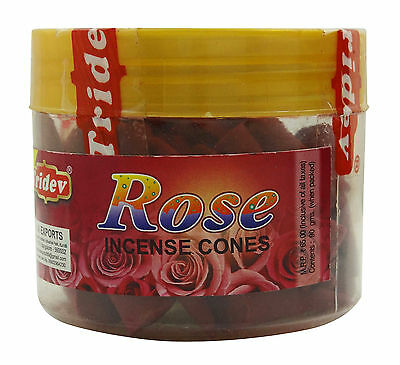 Tridev Rose Incense Cones With Stand 90gm