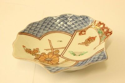 Blue China Shell Shaped Dish With Japanese Style Pattern - 16X14X3Cm