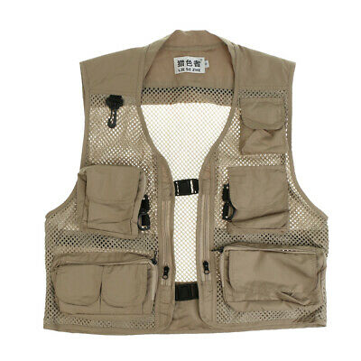 Men's Mesh Fly Fishing Vest Multi Pockets Photography Hunting Outdoor Jacket