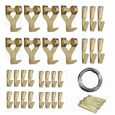 30 Brass Plated Single PICTURE HOOKS Hardened Pins Framing Hardware Wire Size