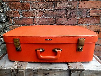 Great Vintage Suitcase Travel Case Storage Box Prop Display Orange Mid Century