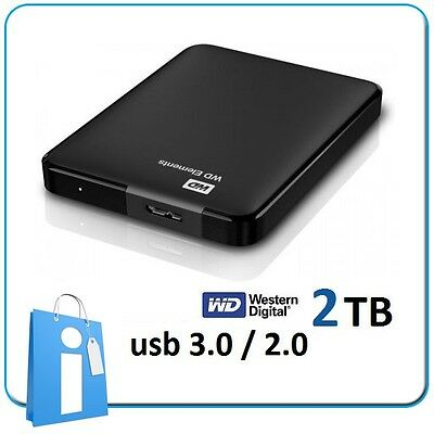 "Disco Duro 2.5"" Externo Portatil 2TB Western Digital Elements HD USB 3.0 / 2.0"