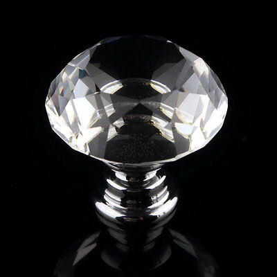 30mm Diamond Clear Crystal Glass Door Pull Drawer Knob Handle Cabinet EM