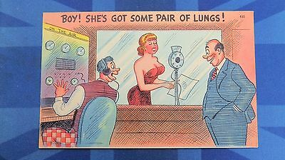 Risque Comic Postcard 1940s Large Boobs RADIO Wireless Programme Broadcast Theme