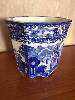RARE ANTIQUE GEORGE JONES & Sons Abbey Blue & White Small Cashe Pot Plant