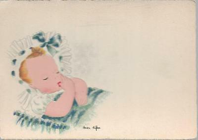 Children - lovely artist drawn postcard of baby by Andre Stefan (French) 1946