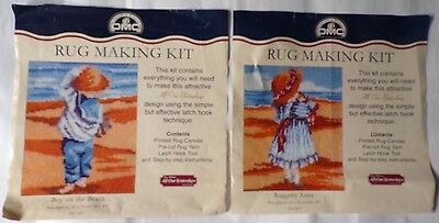 DMC Latch Hook Rug Making Kits x2 - Faye Whittaker Boy & Girl on Beach