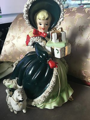 Vintage Napco Christmas Shopper Girl With Spaghetti Trim, Presents And Poodle