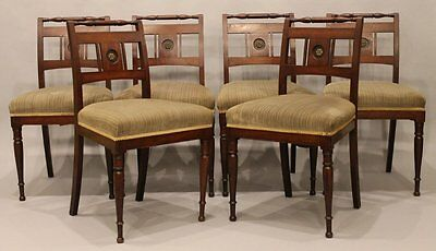 Set of 6 Regency Side Chairs with Upholstered Seats Mahogany