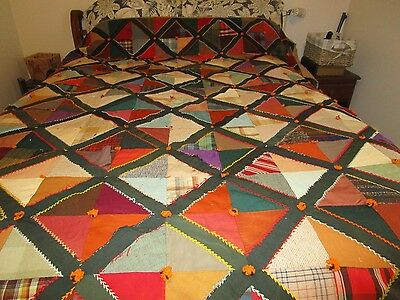 Vintage Patchwork CRAZY QUILT 79x74 Cutter or Keeper