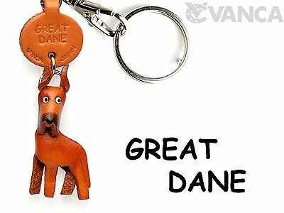 Great Dane Leather Dog Small Keychain VANCA CRAFT-Collectible keyring Made in