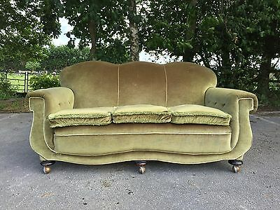 Antique Vintage Art Deco Settee 3 seat Sofa Green Upholstery Feather Cushions GC