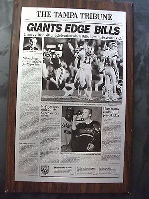 NY GIANTS vs BUFFALO BILLS SUPER BOWL XXV (25) PLAQUE FROM TAMPA TRIBUNE 7 X 11
