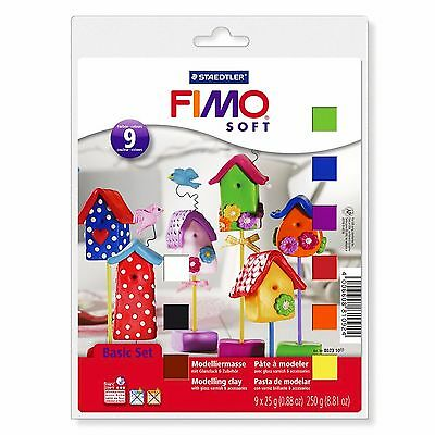 Fimo Soft Basic Set - 9 x 25g Clays, Modelling Tool, Varnish and Modelling Mat