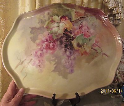 """""""LUSCIOUS GRAPES"""" Antique Victorian Hand Painted Limoges Tray William Guerin1891"""
