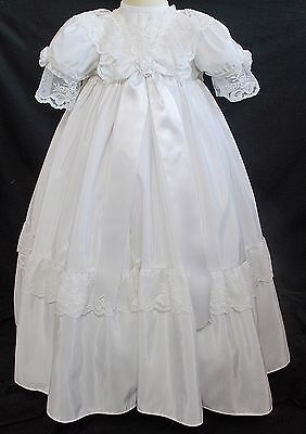 Baby christening gown dress LACE long traditional ROMANY girl white 0-6 months B