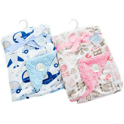 Baby Boy Girl Reversible Micro Mink Double Layer Wrap Blanket by Soft Touch