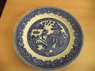 OLD VINTAGE BLUE & WHITE CHINA WILLOW PATTERN DINNER PLATE old willow england