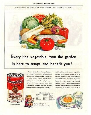 "Vintage 1933 Campbell's Vegetable Soup ""To Tempt and Benefit You!"" Print Ad"