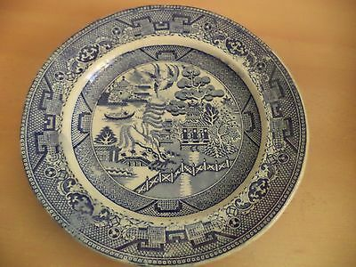 Old Vintage Blue & White China Willow Pattern Dinner Plate Antique Pottery