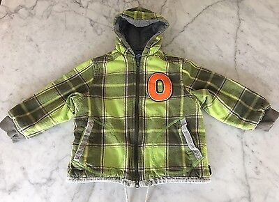 Oilily Boys Green and Gray Plaid Zip Up Jacket Size 4/5