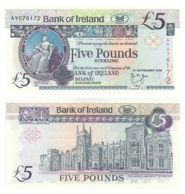 Bank of Ireland £5 Note - BYB ref: NI.216a - UNC.