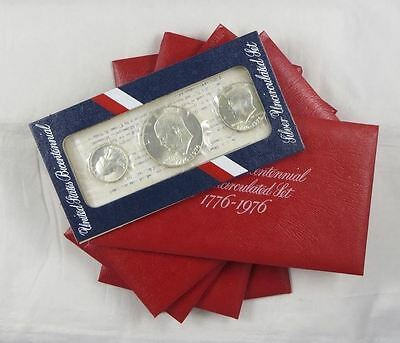 1976-S 3pc. Silver Bicentennial Mint Sets - 5pc Lot Red Packs