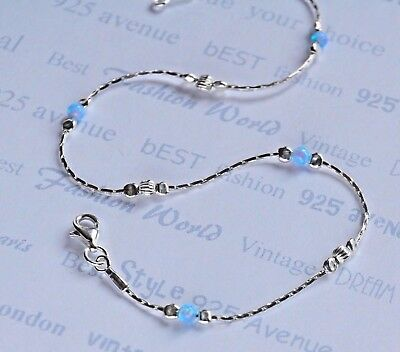 ANKLET OPAL Solid 925 Sterling Silver Chain 10.5''  blue dainty Made in England
